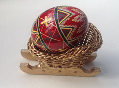 Gold painted basket sled stand for egg