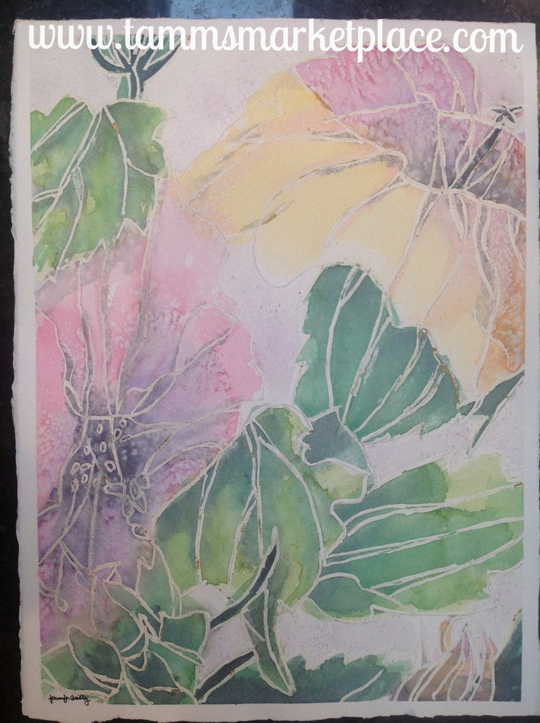 "Original watercolor painting of flowers with white outline. 15""x11"" QWA012"