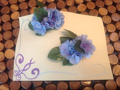 Set of Blue and Purple Flower Barretts CFL009