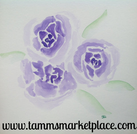 "3 Purple Flowers Original Watercolor Painting 12""x12"" Framed Black or White (your choice) QWA023"