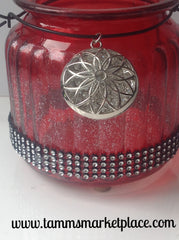 Red Glass Jar with Jeweled Flower Pendant and Bling! QJA011