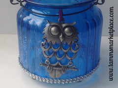 Blue Glass Jar with Owl Pendant and Bling! QJA010