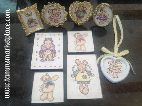 "Watercolor pencil magnet set of 4 ""Free Hugs"" w/bunnies & kitty's, 1 bunny ornament & more! QCM013"