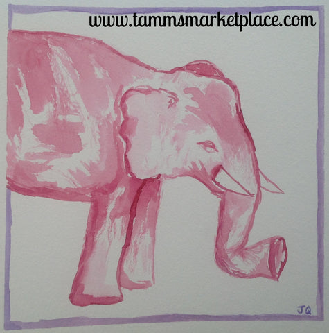 "Elephant in Red Original Watercolor Painting 12""x12"" Framed Black or White (your choice) QWA022"