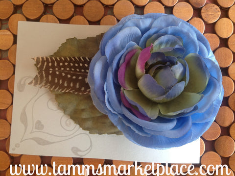 Large Blue Flower with Feather CFL004