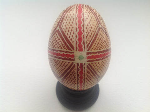 Real Chicken Egg hollowed out and dyed with wax resist technique QEG031