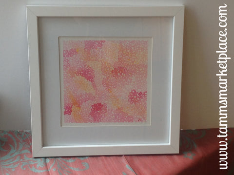 "Pink Hydrangea Watercolor Painting 12""x12"" Framed in White or Black (your choice) QWA015"