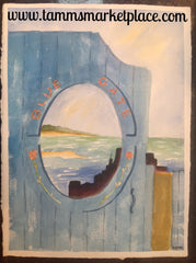 "Original watercolor painting of Blue Gate, oceanside in Rockport Massachusetts. 15""x11"" QWA005"