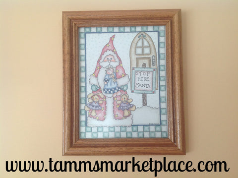 "Watercolor pencil ""Stop Here Santa"" framed hand made 8x10 picture QSH001"