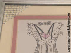 "Two original hand drawn Dress Forms double mat in 5""x7"" silver painted frames QWA034"