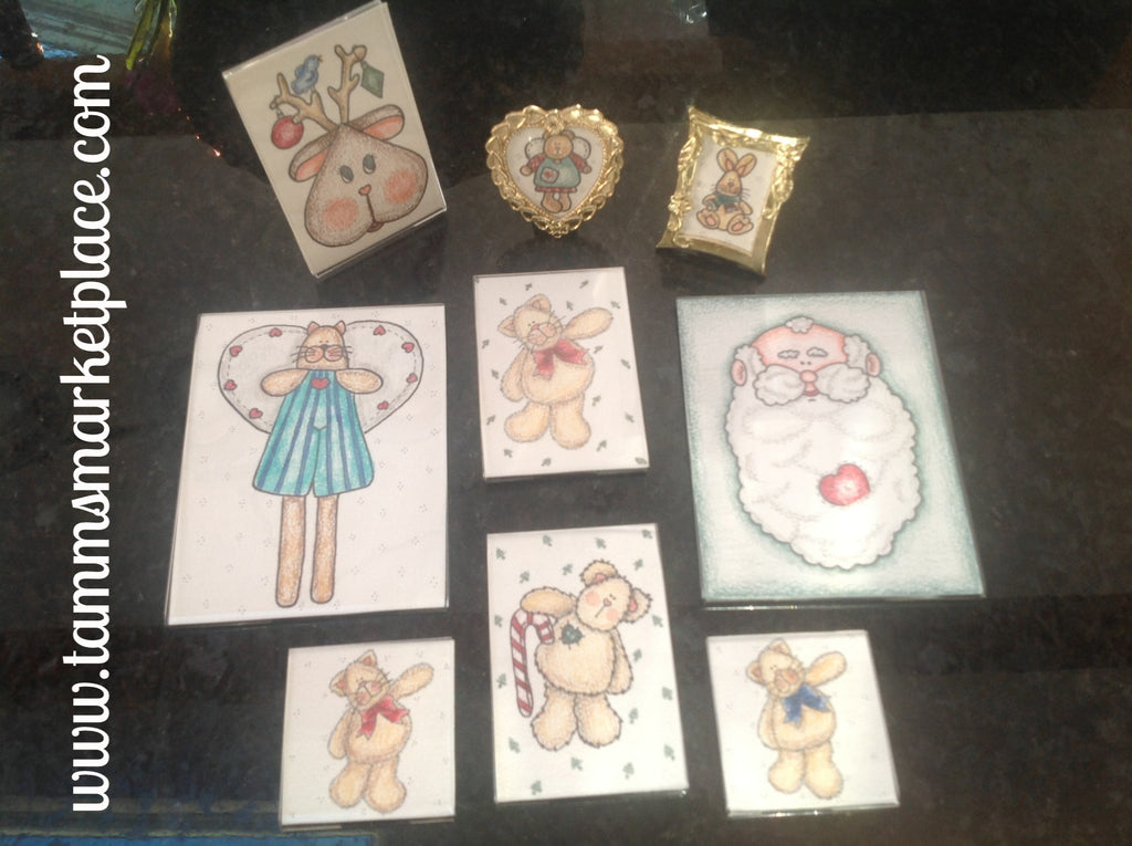 Watercolor pencil Christmas magnet set of six with 3 bonus framed prints. QCM001