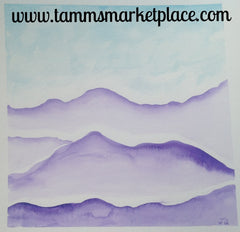 "Purple Hills Original Watercolor Painting 12""x12"" Framed Black or White (your choice) QWA025"