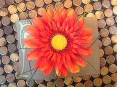 Orange Flower with Peacock feather accents CFL006