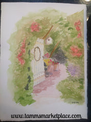 "Watercolor Painting of gate into beautiful backyard, original and not framed. 15""x11"" QWA002"