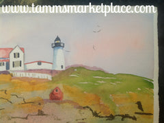 "Original watercolor painting of Nubble Lighthouse in Maine w/reflection in the ocean. 15""x11"" QWA004"