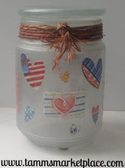 American Flags and Hearts Glass Jar QJA015
