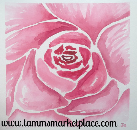 "Red Rose Original Watercolor Painting 12""x12"" Framed Black or White (your choice) QWA032"