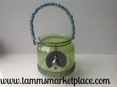 Green Glass Jar with Peacock Pendant and Bling! QJA009