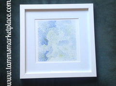 "Blue Hydrangea Watercolor Painting 12""x12"" Framed White or Black (your choice) QWA016"