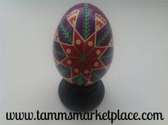 Real Chicken Egg hollowed out and dyed with wax resist technique QEG014