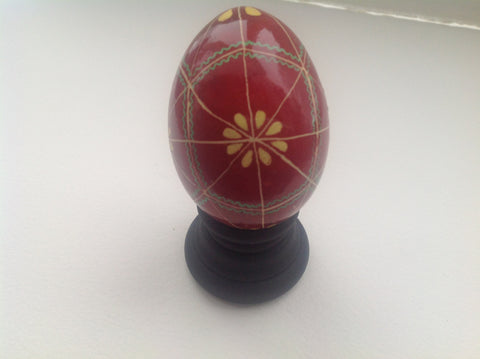 Real Chicken Egg hollowed out and dyed with wax resist technique QEG030