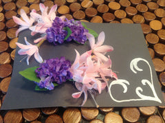 Set of Pink and Purple Flower Barretts CFL010