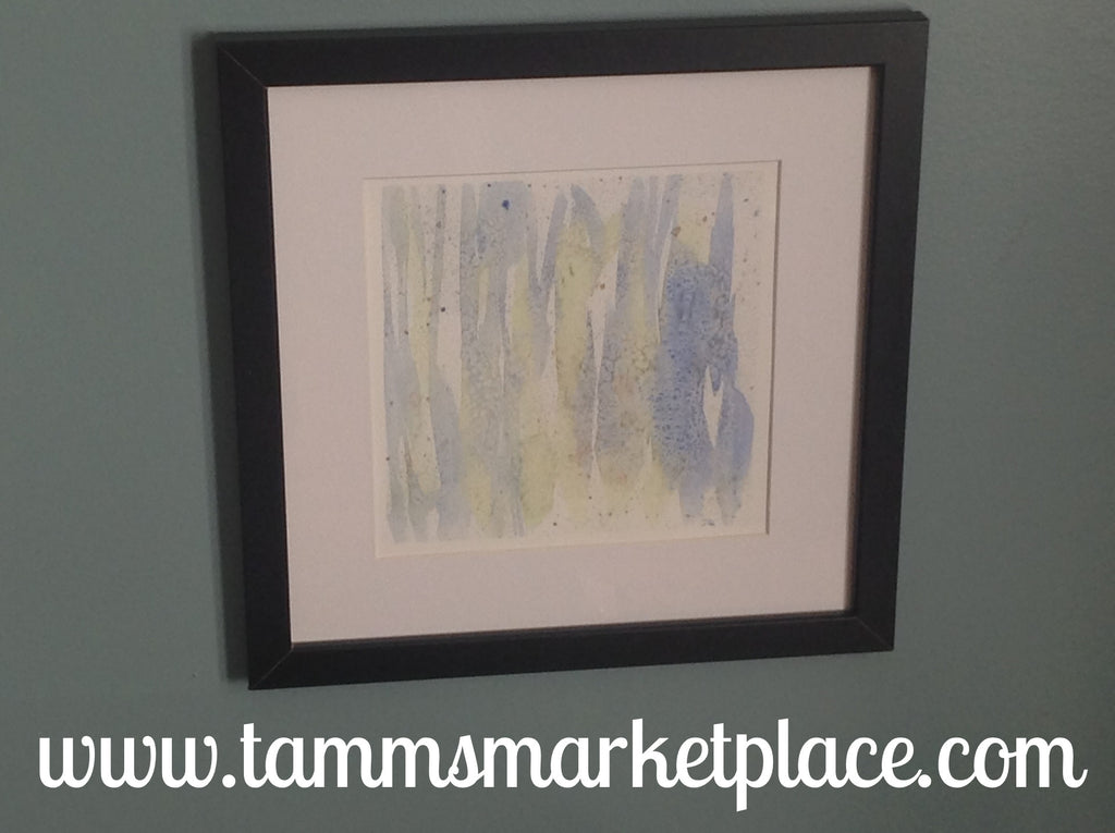 "Blue Birch Tree Trunks Watercolor Painting 12""x12"" Framed White or Black (your choice) QWA017"