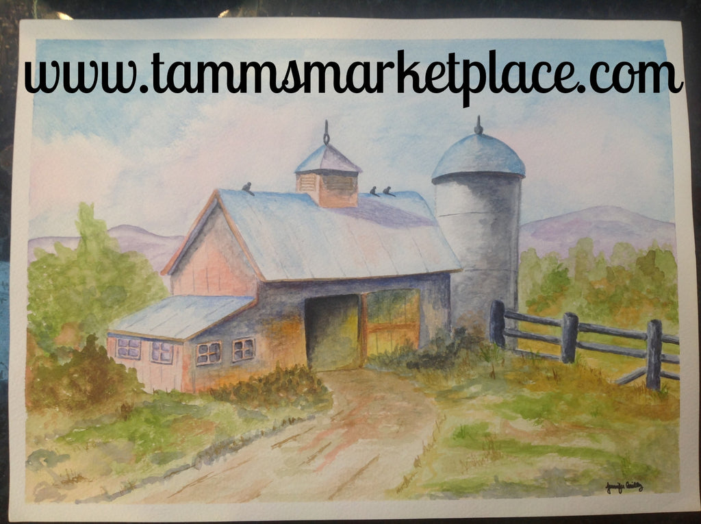 "Watercolor Painting Barn with silo, original and not framed. 15""x11"" QWA003"