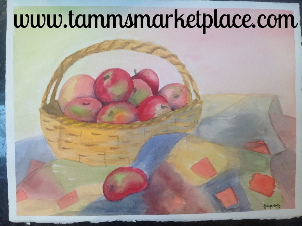 Original Watercolor Painting Of A Basket With Apples On A
