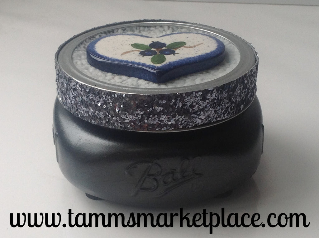 Metallic Painted Jar with Ceramic Heart of Blueberries QJA016