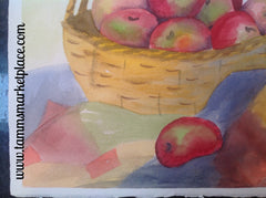 "Original watercolor painting of a basket with apples on a quilt. 15""x11"" QWA008"