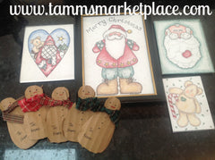 Watercolor pencil Merry Christmas set w/5x7 Santa frame, 3 magnets & 5 snowmen gift tags QCM014