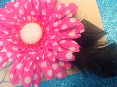 Pink Polka Dot Flower with Black feather accent CFL007