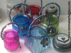 Blue Glass Jar with Flower Pendant and Bling! QJA012