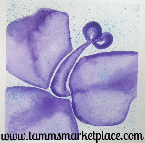 "Purple Flower Original Watercolor Painting 12""x12"" Framed Black or White (your choice) QWA021"