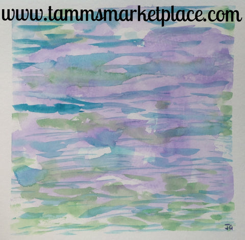 "Mesmerizing Water Original Watercolor Painting 12""x12"" Framed Black or White (your choice) QWA027"