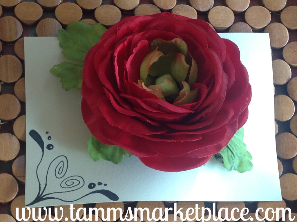 Large Red Flower with Leaves CFL005