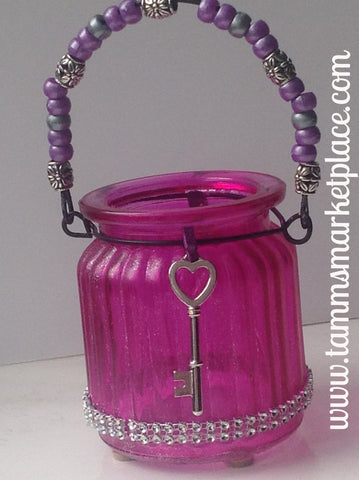 Pink Glass Jar with 2 Key Pendants and Bling! QJA013