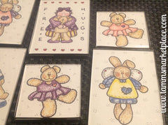 "Watercolor pencil magnet set of 6 ""Free Hugs"" with bunnies and Teddy's  QCM006"