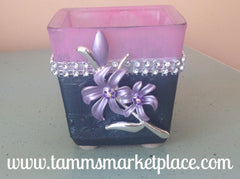 Pink Candleholder with flower pendant QJA005