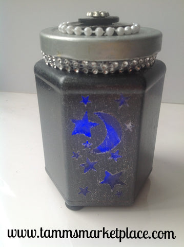 Metallic Glass Jar with 3 Panels of Stars, Moon and Hearts includes battery operated light  QJA014