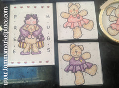 "Watercolor pencil magnet Set of 5 ""Free Hugs"" w/bunnies & Teddy's, 2 ornaments & more! QCM010"