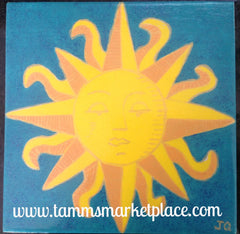 "Ceramic Tile Art -Sun and Waves 8""x8"" QCT001"