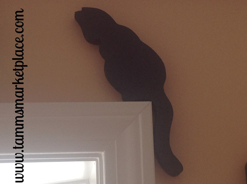 Wooden Black Cat painted and varnished. Sits pretty as a silhouette over doorway. QCA001