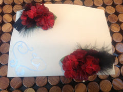 Set of Red Flower Barretts with Black Feather accents CFL008