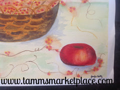Original watercolor painting of basket of berries with apples QWA011