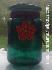 Decorated Jar with hand painted Fish on Green painted glass QJA002