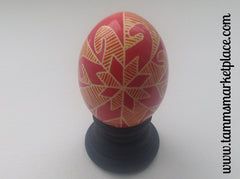 Real Chicken Egg hollowed out and dyed with wax resist technique QEG002