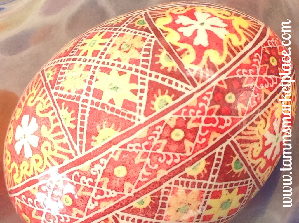 Real Chicken Egg hollowed out and dyed with wax resist technique QEG038