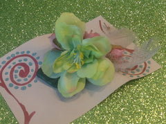 Pink and Lime Green Flowers with Feather accents Barrett CFL011